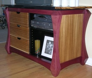 Purpleheart and Zebrawood console